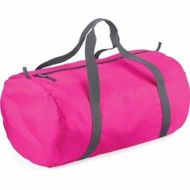 Fuchsia roze ronde polyester sporttas/sporttas