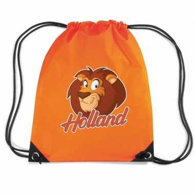 Holland cartoon leeuw voetbal rugzakje / sporttas rijgkoord oranje