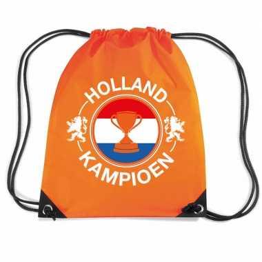 Holland kampioen beker voetbal rugzakje / sporttas rijgkoord oranje