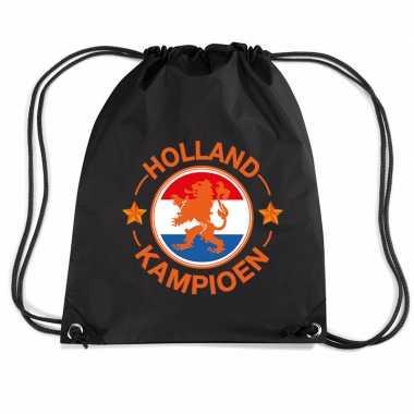 Holland kampioen leeuw voetbal rugzakje / sporttas rijgkoord zwart