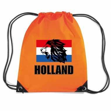 Holland leeuw voetbal rugzakje / sporttas rijgkoord oranje