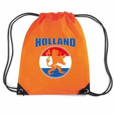 Holland oranje leeuw voetbal rugzakje / sporttas rijgkoord oranje