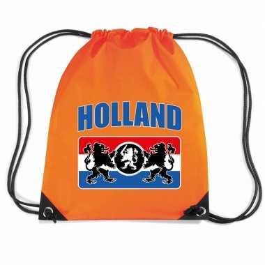 Holland wapenschild voetbal rugzakje / sporttas rijgkoord oranje