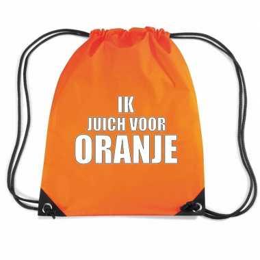 Ik juich oranje voetbal rugzakje / sporttas rijgkoord oranje