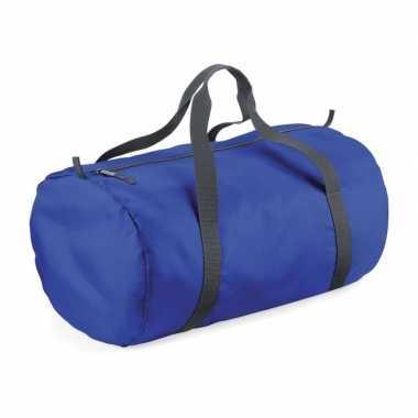 Kobalt blauwe ronde polyester sporttas/sporttas