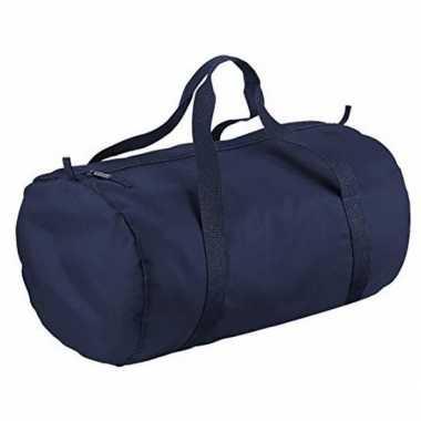 Navy blauwe ronde polyester sporttas/sporttas