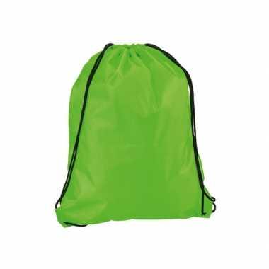 Neon groen gymtas/sporttas rijgkoord