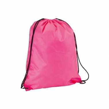 Neon roze gymtas/sporttas rijgkoord