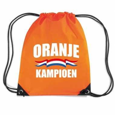 Oranje kampioen voetbal rugzakje / sporttas rijgkoord oranje