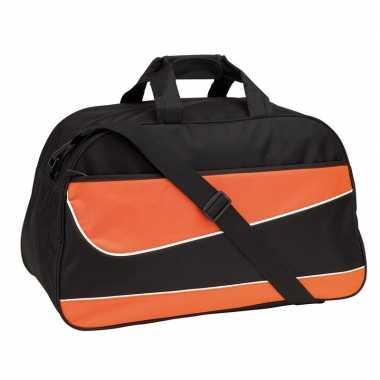 Oranje/zwarte sporttas/sporttas