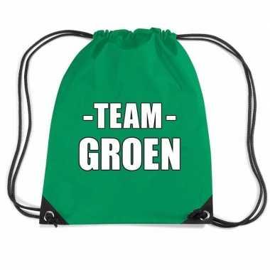 Sportdag team groen rugtas/ sporttas