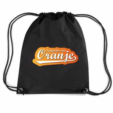 Supporter oranje voetbal rugzakje / sporttas rijgkoord zwart