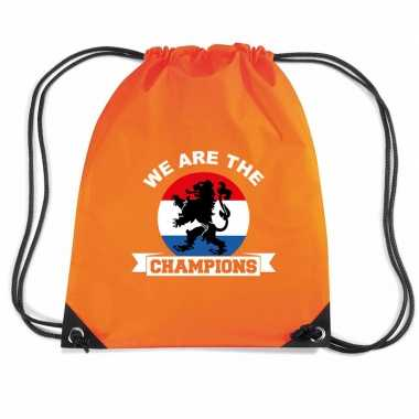 We are the champions voetbal rugzakje / sporttas rijgkoord oranje
