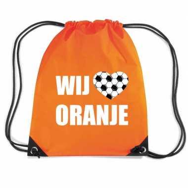 Wij houden oranje voetbal rugzakje / sporttas rijgkoord oranje