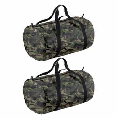 X stuks camouflage groene ronde polyester sporttas/sporttas