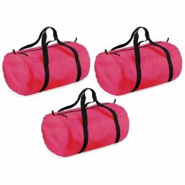 X stuks fuchsia neon roze ronde polyester sporttas/sporttas