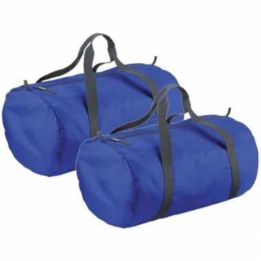 X stuks kobalt blauwe ronde polyester sporttas/sporttas/sporttas