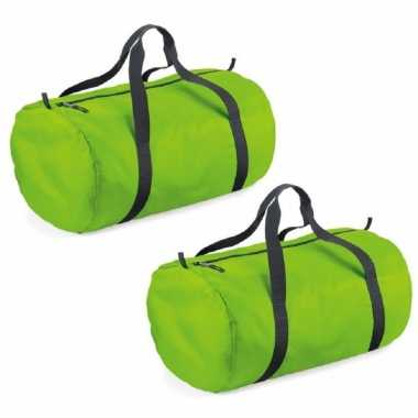 X stuks lime groene ronde polyester sporttas/sporttas