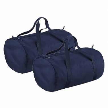 X stuks navy blauwe ronde polyester sporttas/sporttas/sporttas