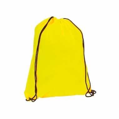 X stuks neon geel gymtassen/sporttassen rijgkoord