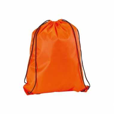 X stuks neon oranje gymtassen/sporttassen rijgkoord