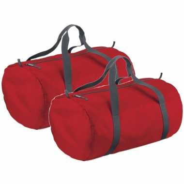 X stuks rode ronde polyester sporttas/sporttas/sporttas
