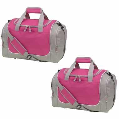 X stuks sporttas/sporttas grijs/roze schoenenvak
