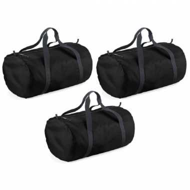 X stuks zwarte ronde polyester sporttas/sporttas