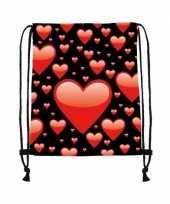 Rugtas zwart rijgkoord rode hartjes print